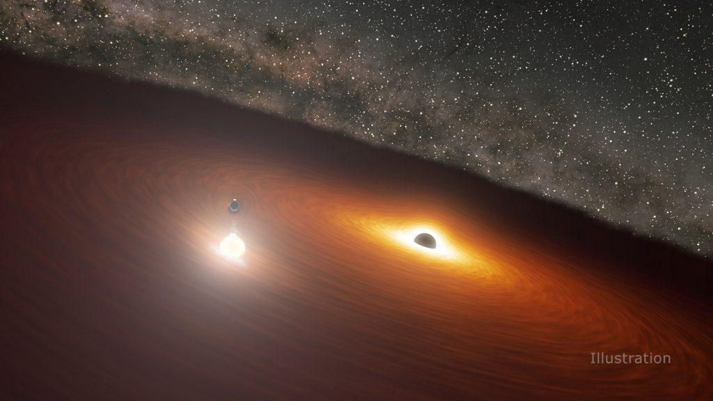 El telescopio Spitzer revela el momento preciso de un baile de un agujero negro.