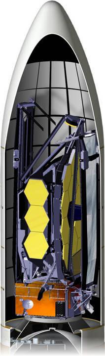 Primer vistazo: el telescopio espacial James Webb de la NASA completamente guardado.