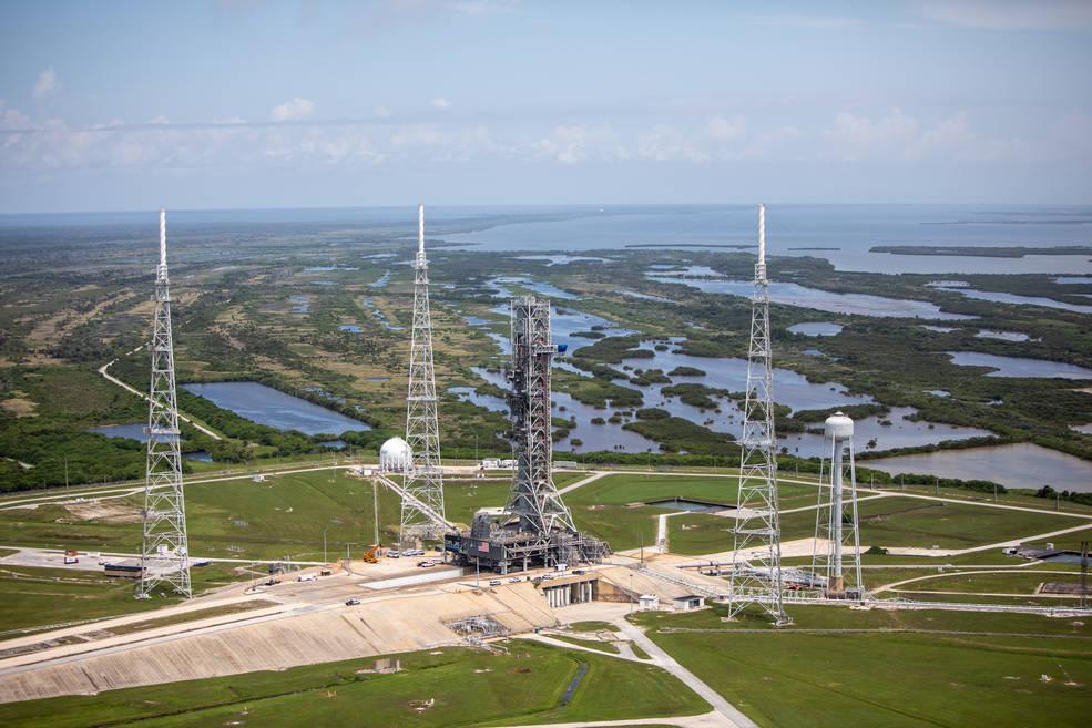 El complejo de lanzamiento 39B, preparado para dar soporte Artemis I.