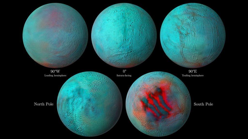 Ojos infrarrojos en Encelado: indicios de hielo en el hemisferio norte.